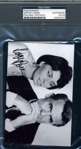 Sophia Loren Hand Signed Psa/dna Coa Photo Authentic Autograph Cary Grant