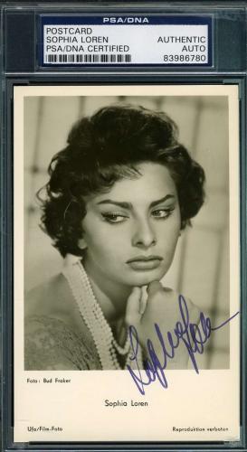 Sophia Loren Hand Signed Psa/dna Photo Postcard Authenticated Autograph
