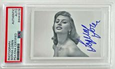 Sophia Loren SEXY VINTAGE ACTRESS Signed 2x3 Photo Card PSA/DNA Slabbed #3