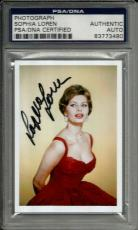 Sophia Loren SEXY VINTAGE ACTRESS Signed 2x3 Photo Card PSA/DNA Slabbed #7