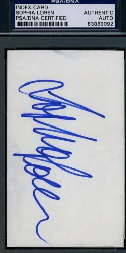 Sophia Loren Signed 3x5 Index Card Psa/dna Cert Authentic Autograph