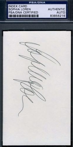 Sophia Loren Signed 3x5 Index Card Psa/dna Certified Authentic Autograph
