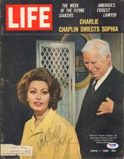 Sophia Loren Signed April 1966 LIFE Magazine Cover PSA/DNA COA w Charlie Chaplin