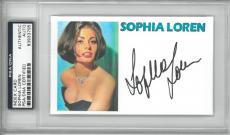 Sophia Loren Signed Authentic Autographed Index Card Slabbed PSA/DNA #83933795