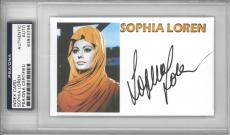Sophia Loren Signed Authentic Autographed Index Card Slabbed PSA/DNA #83933796