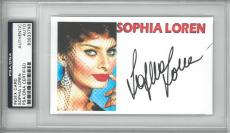 Sophia Loren Signed Authentic Autographed Index Card Slabbed PSA/DNA #83933798