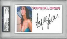 Sophia Loren Signed Authentic Autographed Index Card Slabbed PSA/DNA #83933799