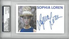 Sophia Loren Signed Authentic Autographed Index Card Slabbed PSA/DNA #83933800
