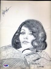Sophia Loren Signed Psa/dna 9x14 Original Pen Pencil Drawing Autograph