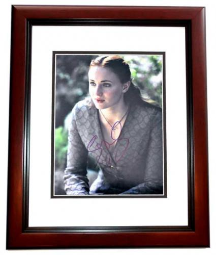 Sophie Turner Signed - Autographed Game of Thrones - Sansa Stark 11x14 inch Photo MAHOGANY CUSTOM FRAME - Guaranteed to pass PSA/DNA or JSA