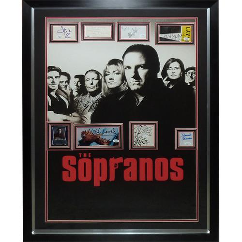 Sopranos Full-Size TV Poster Deluxe Framed with 8 Cast Autographs – JSA