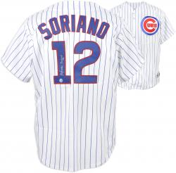 Alfonso Soriano Chicago Cubs Autographed White Pinstripe Majestic Replica Jersey