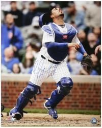 """Geovany Soto Chicago Cubs Autographed 16"""" x 20"""" Catching Photograph"""