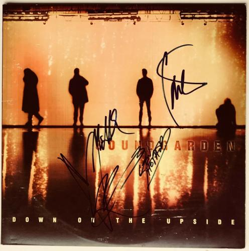 Soundgarden Chris Cornell group signed album down on the upside lp beckett loa