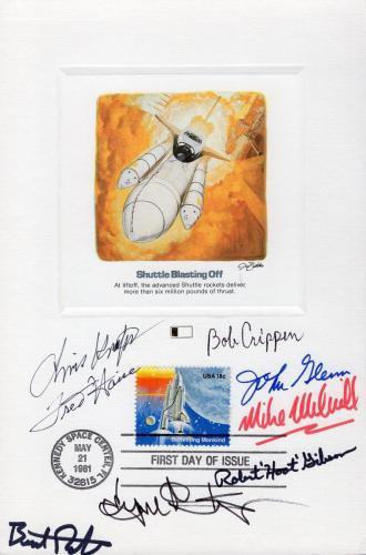 SPACE 6x9 HAND SIGNED FDC PROOF CARD     8 SIGNED      JOHN GLENN     JSA LETTER