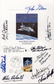SPACE 6x9 HAND SIGNED FDC PROOF CARD+COA   10 SIGNED   CHARLIE DUKE+JOHN GLENN