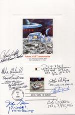 SPACE 6x9 HAND SIGNED FDC PROOF CARD+COA    8 SIGNED     CHARLIE DUKE+JOHN GLENN