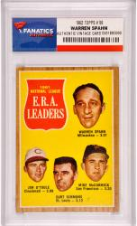 Warren Spahn Atlanta Braves 1962 Topps Leaders #56 Card - Mounted Memories