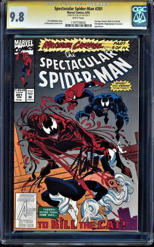 Spectacular Spider-man #201 Cgc 9.8 White Pages Ss Stan Lee Signed #1197756032