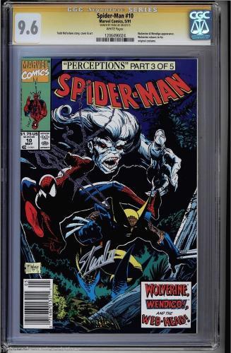 Spider-man #10 Cgc 9.6 White Pages Ss Stan Lee Wolverine #1206496024