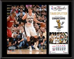"Tiago Splitter San Antonio Spurs 2014 NBA Finals Champions Sublimated 12"" x 15"" Plaque"