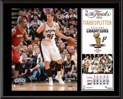 """Tiago Splitter San Antonio Spurs 2014 NBA Finals Champions Sublimated 12"""" x 15"""" Plaque"""