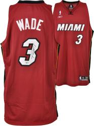 adidas Dwyane Wade Miami Heat Autographed Authentic Swingman Jersey - Red - Mounted Memories