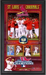 "St. Louis Cardinals 2013 National League Champions 10"" x 18"" Framed Collage with Game-Used Baseball - Limited Edition of 500"