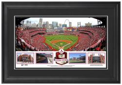 Busch Stadium St. Louis Cardinals Framed Stadium Panoramic with Game-Used Ball-Limited Edition of 500 - Mounted Memories