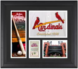 St. Louis Cardinals Team Logo Framed 15'' x 17'' Collage with Piece of Game-Used Ball - Mounted Memories