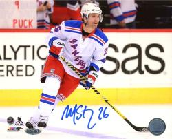 "Martin St. Louis New York Rangers Autographed 8"" x 10"" Skating White Uniform Photograph"