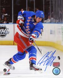 "Marc Staal New York Rangers Autographed 8"" x 10"" Shooting Blue Uniform Photograph"