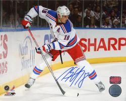 """Marc Staal New York Rangers Autographed 8"""" x 10"""" Behind Net White Uniform Photograph"""