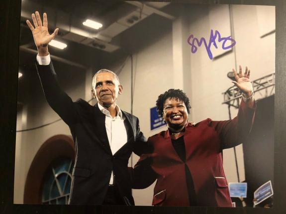 STACEY ABRAMS SIGNED AUTOGRAPHED 8x10 PHOTO - STACY, PRESIDENT BARACK OBAMA 2020