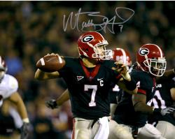 Matt Stafford Georgia Bulldogs Autographed 16'' x 20'' Black Jersey Throw Horizontal Photograph