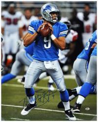 """Matthew Stafford Detroit Lions Autographed 16"""" x 20"""" Blue Uniform Passing Photograph"""