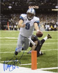 Matt Stafford Detroit Lions Autographed 8'' x 10'' vs. New Orleans Saints Diving Touchdown Vertical Photograph
