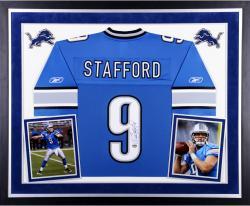 Matthew Stafford Detroit Lions Autographed Deluxe Framed Reebok On Field Jersey