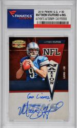 Matthew Stafford Detroit Lions Autographed 2010 Panini Gridiron Gear #30 Card with Go Lions! Inscription - Mounted Memories