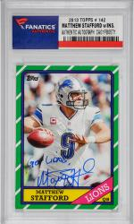 Matthew Stafford Detroit Lions Autographed 2013 Topps #142 Card with Go Lions! Inscription - Mounted Memories
