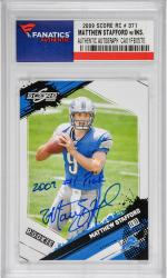 Matthew Stafford Detroit Lions Autographed 2009 Score #371 Rookie Card with 2009 #1 Pick Inscription - Mounted Memories