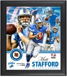 Detroit Lions Matthew Stafford Framed Collage with Football - Mounted Memories