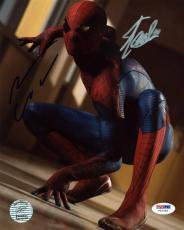 Stan Lee & Andrew Garfield Spider-Man Signed 8X10 Photo PSA #V67298