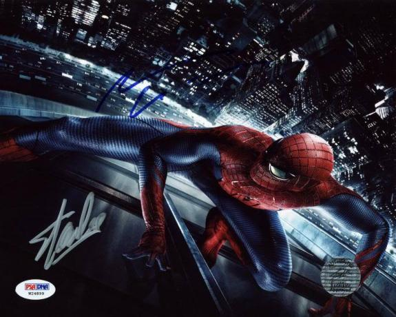 Stan Lee & Andrew Garfield Spider-Man Signed 8X10 Photo PSA #W24899