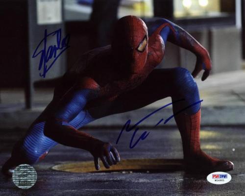 Stan Lee & Andrew Garfield Spider-Man Signed 8X10 Photo PSA #W24901