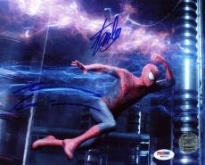 Stan Lee & Andrew Garfield Spider-Man Signed 8X10 Photo PSA #W80522