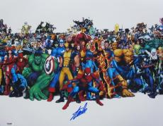 Stan Lee Authentic Signed 16x20 Marvel Comics Photograph Psa/dna X14163