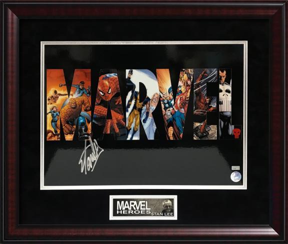 Stan Lee Autograph Photo Marvel logo Framed 20×24