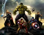 """Stan Lee Autographed 16"""" x 20"""" Avengers Movie Group Photograph with Black Ink - BAS COA"""
