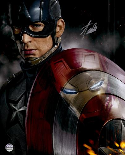 """Stan Lee Autographed 16"""" x 20"""" Cap/Iron Man Vetical Photograph with Silver Ink - BAS COA"""